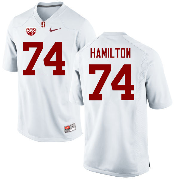 Men Stanford Cardinal #74 Devery Hamilton College Football Jerseys Sale-White