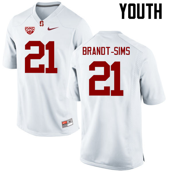 Youth Stanford Cardinal #21 Isaiah Brandt-Sims College Football Jerseys Sale-White